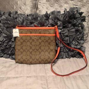 New Coach Signature Zip Khaki/Neon Orange Bag
